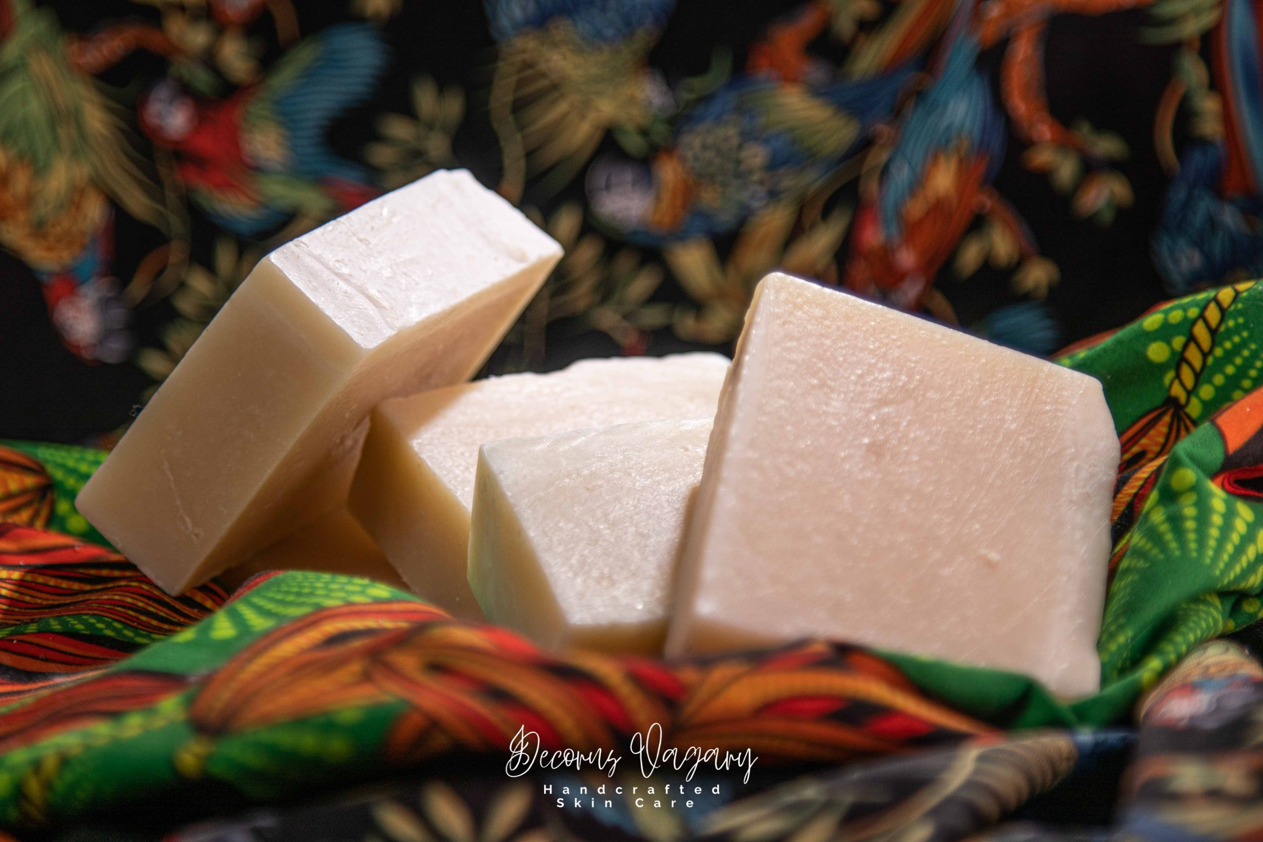 Decorus vagary garri soap on African print.